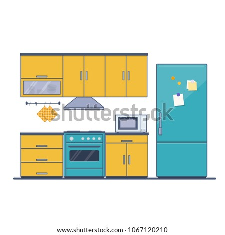 Modern kitchen Interior with furniture on white background. Flat vector illustration