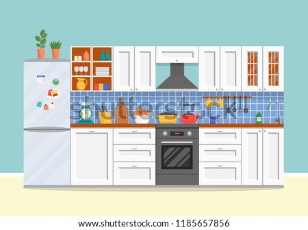 Flat Design Kitchen Equipment Background Download Free Vector Art