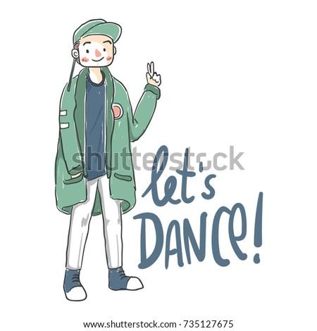 modern kpop boy with comic hand