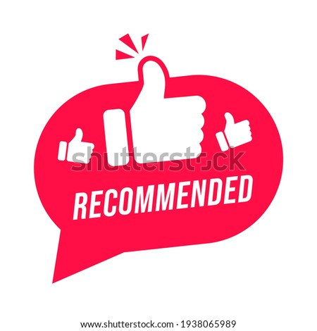Modern label recommended with thumbs up. Banner element for web and app. Foto stock ©