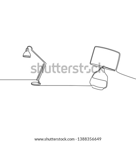modern lamp and bed lamp continuous and one line lamps Vector illustration