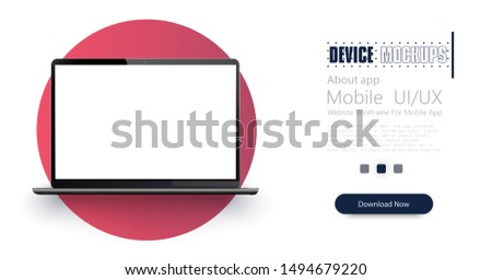 Modern laptop mock up - front view. The laptop is modern on a red background.  Vector illustration