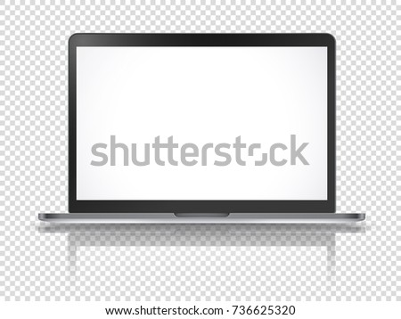 Modern laptop vector mockup with reflection isolated on transparent background