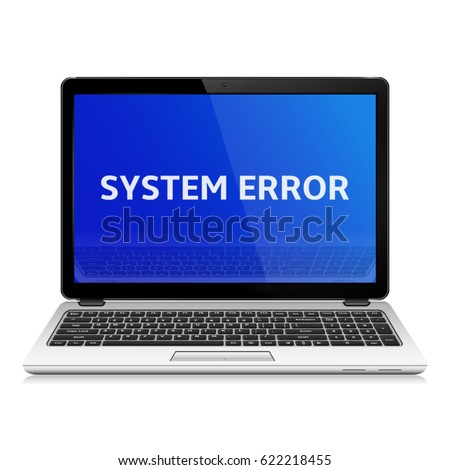 modern laptop with system error