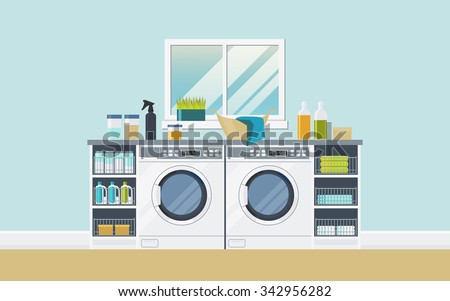 modern laundry room with two