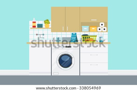 modern laundry room with