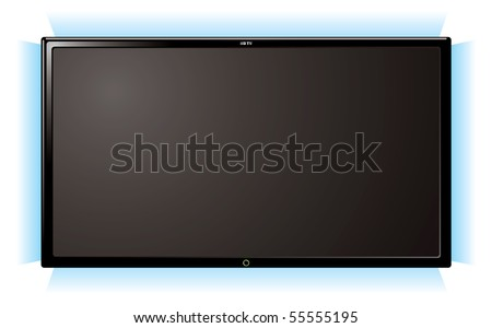 Modern lcd flat screen television with blue outer glow - stock vector