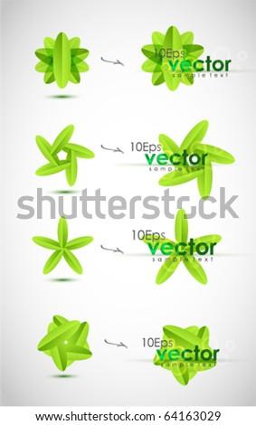 Modern leaf design elements. Vector icon set - stock vector
