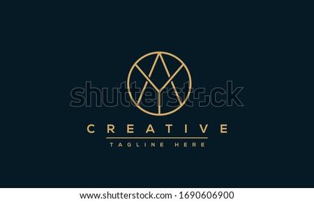 Modern letters AY, A&Y Logo Design Template Vector YA monogram. Stok fotoğraf ©