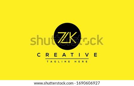 Modern letters ZK, Z&K Logo Design Template Vector monogram. Stok fotoğraf ©