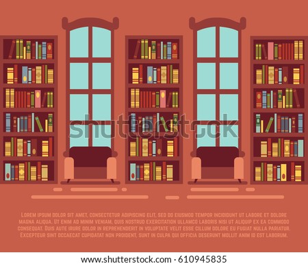 Modern library empty interior with bookcase, bibliotheca with bookselves vector illustration. Interior of library with wooden bookshelf set with books.