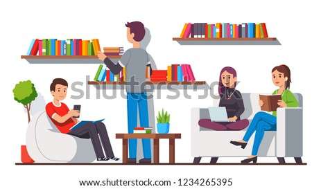 Modern library home style relaxation and reading zone room interior with book shelves, cozy bean bag chair and sofa couch. Students relaxing sitting, reading together. Flat cartoon vector illustration