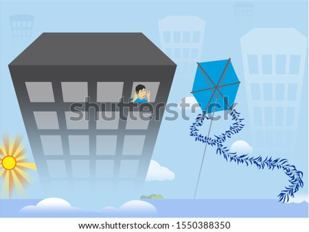 Modern life and captivity of children. Sad child in the window of modern building, looking at the kite in the sky.