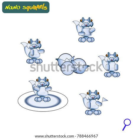 Stock Photo Modern lifelike squirrel robots. Vector illustration. Cybernetic nano assistants. Futuristic innovations integrated into our lives. Vector illustration of artificial intelligence. Squirrels.
