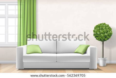 modern light interior with sofa
