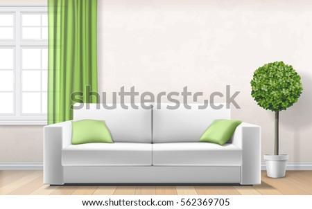 modern light interior with sofa