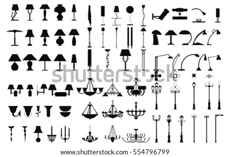 Modern Lightning Standing, Chandelier, Table, wall and pole Lamps energy furniture supply. Architecture interior and outdoor electric design equipment elements. vector stock photo