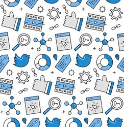 Modern line icons seamless pattern texture of social media networking, digital marketing, viral video promotion and sharing. Flat design graphic, perfect for web background, print wrapping decoration.