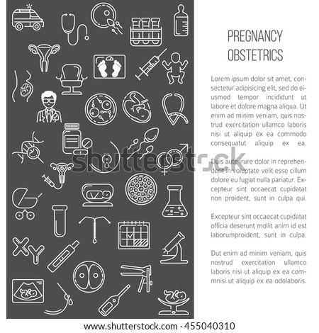 Modern Line Style Design Card Or Poster Template With Obstetrics Objects Volunteer Perfect
