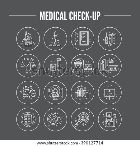 Modern line symbols of medicine - MRI, scanning machine, xray, blood test. Medical icons made in vector. Check-up and medical diagnostic.