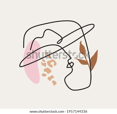Modern linear abstract portrait of woman wearing hat.  Profile face in one line style. Vector illustration