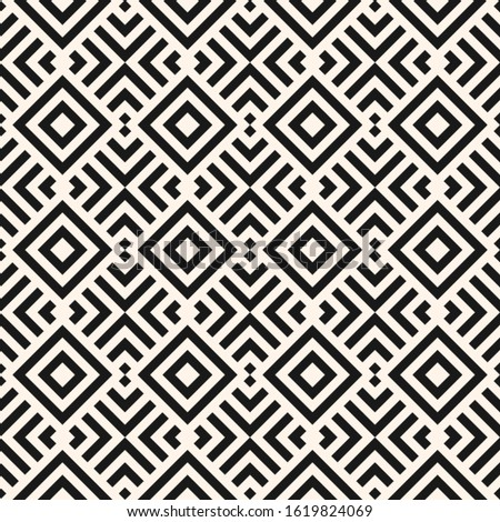 Modern linear geometric seamless pattern. Abstract monochrome geo texture with diagonal lines, squares, rhombuses, repeat tiles. Stylish minimal black and white background. Simple repeatable design