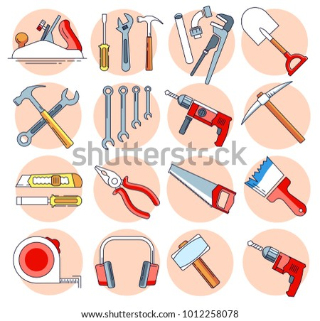 modern linear pictogram of building tools set of concept line icons building tools construction - Home Building Tools