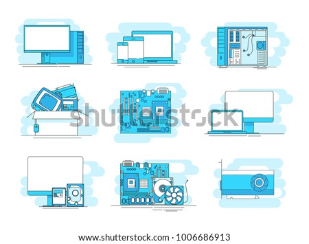 Modern linear pictogram of computer components. Set of concept line icons computer components. Computer hardware parts. For web design, applications, mobile interface, infographics and print design