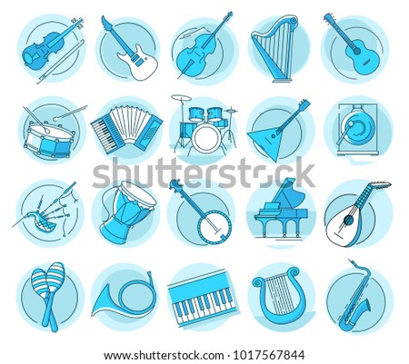 Modern linear pictogram of musical instruments. Set of concept line icons musical instruments. Musical tools. UI/UX for web design, applications, mobile interface, infographics and print design