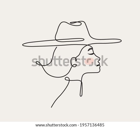 Modern linear portrait of young beautiful woman wearing hat.  Profile face in one line style. Vector illustration