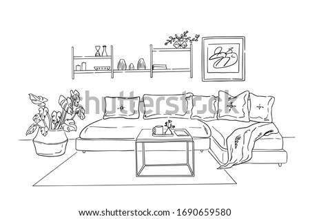 Modern living room interior illustration. Leisure place for relaxation with sofa and pillows, a coffee table, plants in a pot, shelf with books and a painting on a wall.
