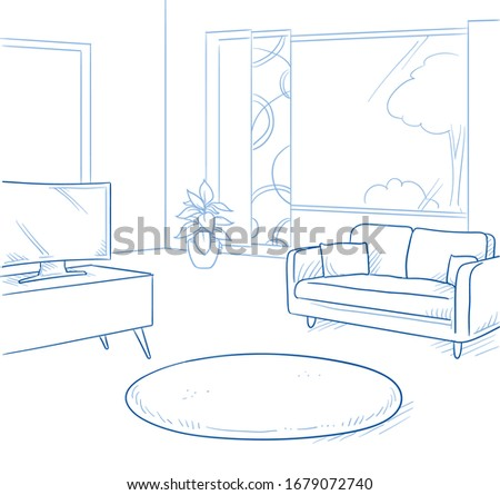 Modern living room with furniture and windows. Concept for new house, real estate or for furniture shop. Hand drawn blue line art cartoon vector illustration.