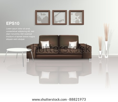Modern Living Space with Brown Sofa (EPS10)