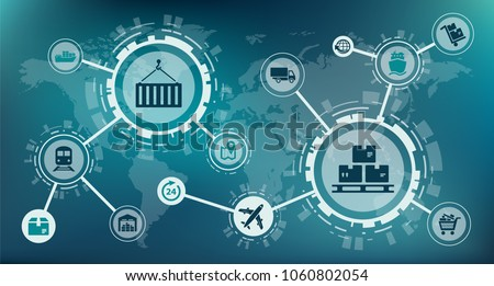 Modern logistics / supply chain management / delivery of goods - vector illustration
