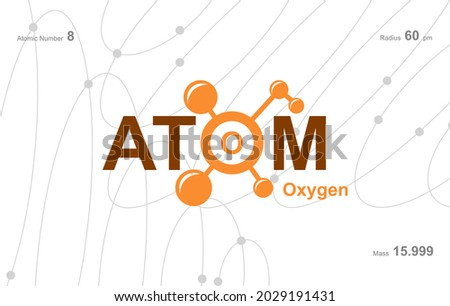 modern logo design for the word 'Atom'. Atoms belong to the periodic system of atoms. There are atom pathways and letter O.  Foto stock ©