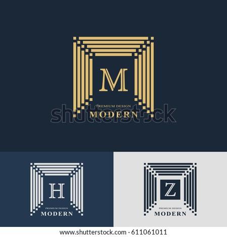 Modern logo design. Geometric linear monogram template. Letter emblem M, H, Z. Mark of distinction. Universal business sign for brand name, company, business card, badge. Vector illustration