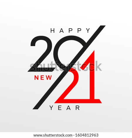 Modern logo 2021 facet logo text design. Happy New Year label and happy holidays template card. Cover of business diary for 2021 with wishes. Brochure design template, Xmas banner. Vector Christmas.