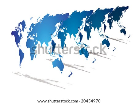 Modern look at a world map in blue with 3d perspective