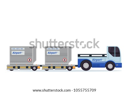 Modern Luggage Towing Truck Airport Ground Support Vehicle Transportation Illustration