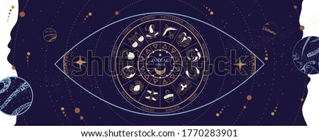 Modern magic witchcraft Astrology wheel with zodiac signs on space background. Horoscope vector illustration Stock photo ©