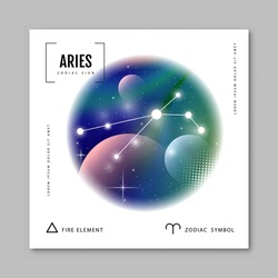 Modern magic witchcraft card with astrology Aries zodiac constellation on holographic flow background