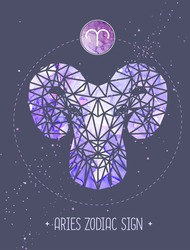 Modern magic witchcraft card with astrology Aries zodiac sign. Ram or mouflon head in polygonal style