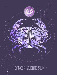 Modern magic witchcraft card with astrology Cancer zodiac sign. Crab illustration in polygolan style