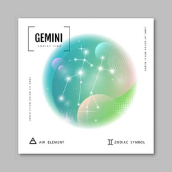 Modern magic witchcraft card with astrology Gemini zodiac constellation on holographic flow background