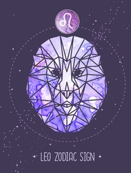 Modern magic witchcraft card with astrology Leo zodiac sign. Lion head in polygonal style