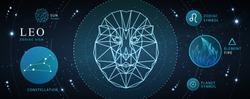 Modern magic witchcraft card with astrology Leo zodiac sign. Polygonal lion head. Zodiac characteristic