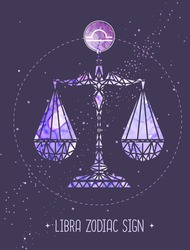 Modern magic witchcraft card with astrology Libra zodiac sign. Polygonal style. Scales illustration
