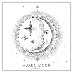 Modern magic witchcraft card with astrology moon sign with human face. Realistic hand drawing illustration of moon with human face