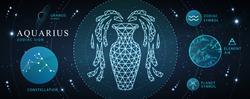 Modern magic witchcraft card with astrology neon Aquarius zodiac sign. Polygonal water jug illustration. Zodiac characteristic