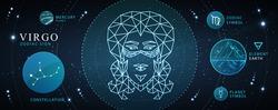 Modern magic witchcraft card with astrology neon Virgo zodiac sign. Polygonal woman head. Zodiac characteristic